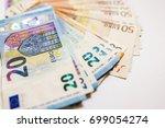 euro cash. many euro banknotes... | Shutterstock . vector #699054274