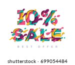 paper cut 10 percent off. 10 ... | Shutterstock .eps vector #699054484