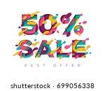 paper cut sale 50 percent off.... | Shutterstock .eps vector #699056338