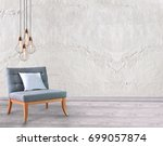 modern interior with stone wall ... | Shutterstock . vector #699057874