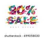 paper cut 90 percent off. 90 ...   Shutterstock .eps vector #699058030