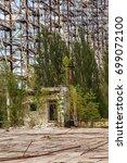"Small photo of Large antenna field. Soviet radar system ""Duga"" at Chernobyl nuclear power plant. ABM missile defense. Antenna field, over-the-horizon radar. Military object of USSR ABM. Secret Soviet Chernobyl -2"