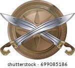 ancient greek swords crossed over bronze shield
