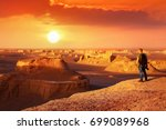 a lonely young traveler meets a ... | Shutterstock . vector #699089968