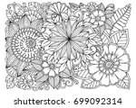 black and white flower pattern... | Shutterstock .eps vector #699092314