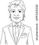 vector   smiling man   tuxedo... | Shutterstock .eps vector #699103330
