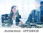 double exposure of... | Shutterstock . vector #699108418