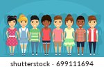 a group of children of... | Shutterstock .eps vector #699111694