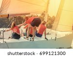 the team of young girls takes... | Shutterstock . vector #699121300