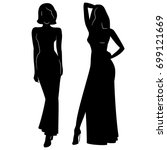 Stock vector silhouette of beautiful women in evening dress vector illustration 699121669