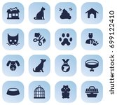 set of 16 pets icons set... | Shutterstock .eps vector #699122410
