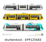 set of tram train  railway ... | Shutterstock .eps vector #699125683