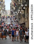 Small photo of BARCELONA/SPAIN - 19 AUGUST 2017: Ferran street full of tourists two days after the terrorist attac to Ramblas. Credit:Dino Geromella