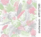 tropical summer print with... | Shutterstock . vector #699127180