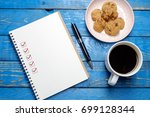 book with blank checklist with... | Shutterstock . vector #699128344