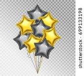 golden and silver balloons.... | Shutterstock .eps vector #699133198