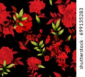 seamless red floral background... | Shutterstock .eps vector #699135283