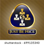 gold emblem or badge with... | Shutterstock .eps vector #699135340