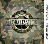globalization on camo texture | Shutterstock .eps vector #699163060