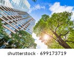 fresh green and building | Shutterstock . vector #699173719
