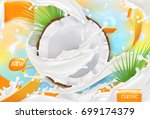 coconut milk. white cream... | Shutterstock .eps vector #699174379
