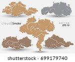 steam clouds set. cartoon smoke ... | Shutterstock .eps vector #699179740