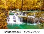 beautiful waterfall in... | Shutterstock . vector #699198970