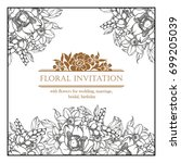romantic invitation. wedding ... | Shutterstock . vector #699205039