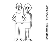 couple standing man and woman... | Shutterstock .eps vector #699205324