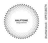 halftone circle frame dots logo ... | Shutterstock . vector #699218074