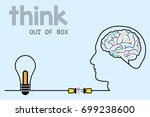 thinking out of box an ideas... | Shutterstock .eps vector #699238600