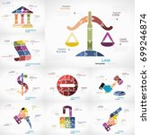 justice infographic collection... | Shutterstock .eps vector #699246874