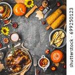 thanksgiving dinner background... | Shutterstock . vector #699250123
