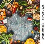 autumn seasonal eating and... | Shutterstock . vector #699250126