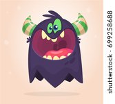 angry cartoon black monster.... | Shutterstock .eps vector #699258688