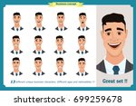 face expressions of a man... | Shutterstock .eps vector #699259678