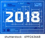 card of new year 2018 as... | Shutterstock .eps vector #699263668