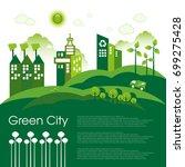 green eco city living concept. | Shutterstock .eps vector #699275428