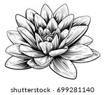 Stock vector a lotus lily water flower in a vintage woodcut engraved etching style 699281140