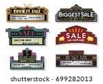 vector set of vintage light... | Shutterstock .eps vector #699282013