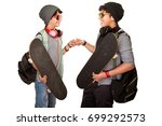 two happy teen boys with... | Shutterstock . vector #699292573