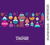 diwali hindu festival greeting... | Shutterstock .eps vector #699305020