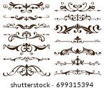 Stock vector vintage frames corners borders with delicate swirls in art nouveau for decoration and design 699315394