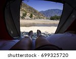 view from tourist tent inside... | Shutterstock . vector #699325720