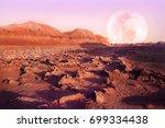 lunar desert landscape. iran. | Shutterstock . vector #699334438
