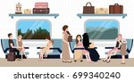 inside train business class... | Shutterstock .eps vector #699340240