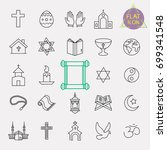 religion line icon set | Shutterstock .eps vector #699341548