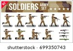 military army soldiers set in... | Shutterstock .eps vector #699350743