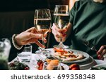 dinner with friends of family...   Shutterstock . vector #699358348