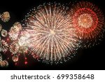 fireworks and bokeh in new year ... | Shutterstock . vector #699358648